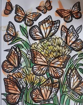 Fjärilar målade av en 2 åring