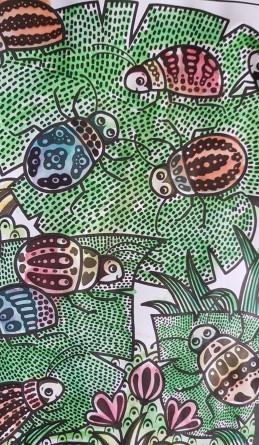 Färgglada skalbaggar